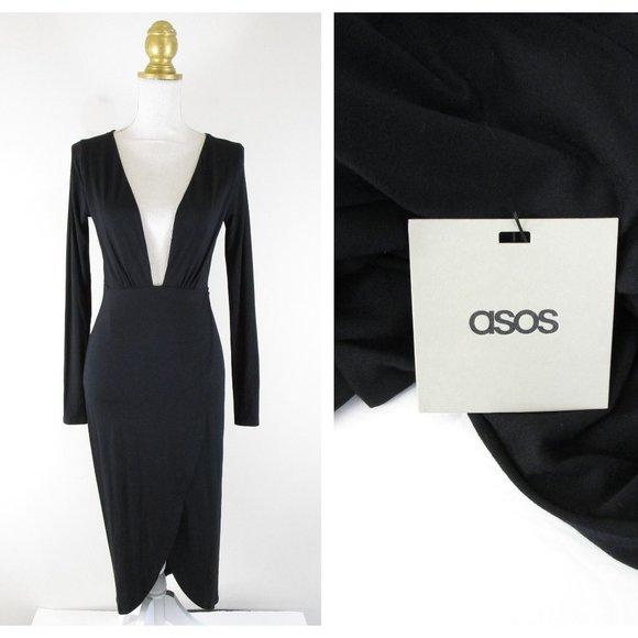 ASOS Dresses & Skirts - Asos Solid Black Deep V Neck Tulip Sheath Dress 4